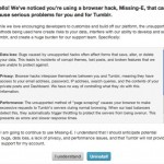 Tumblr message about the Missing e
