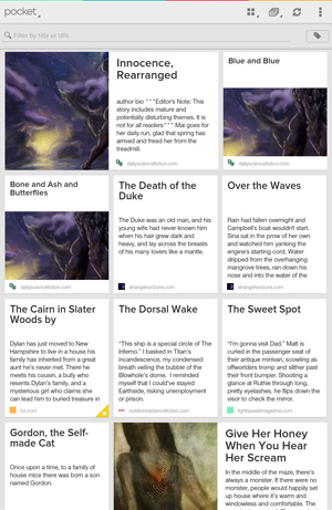 Short stories in the Pocket app