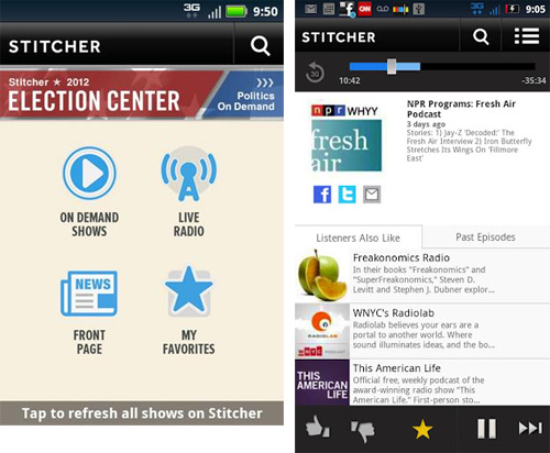stitcher radio android app